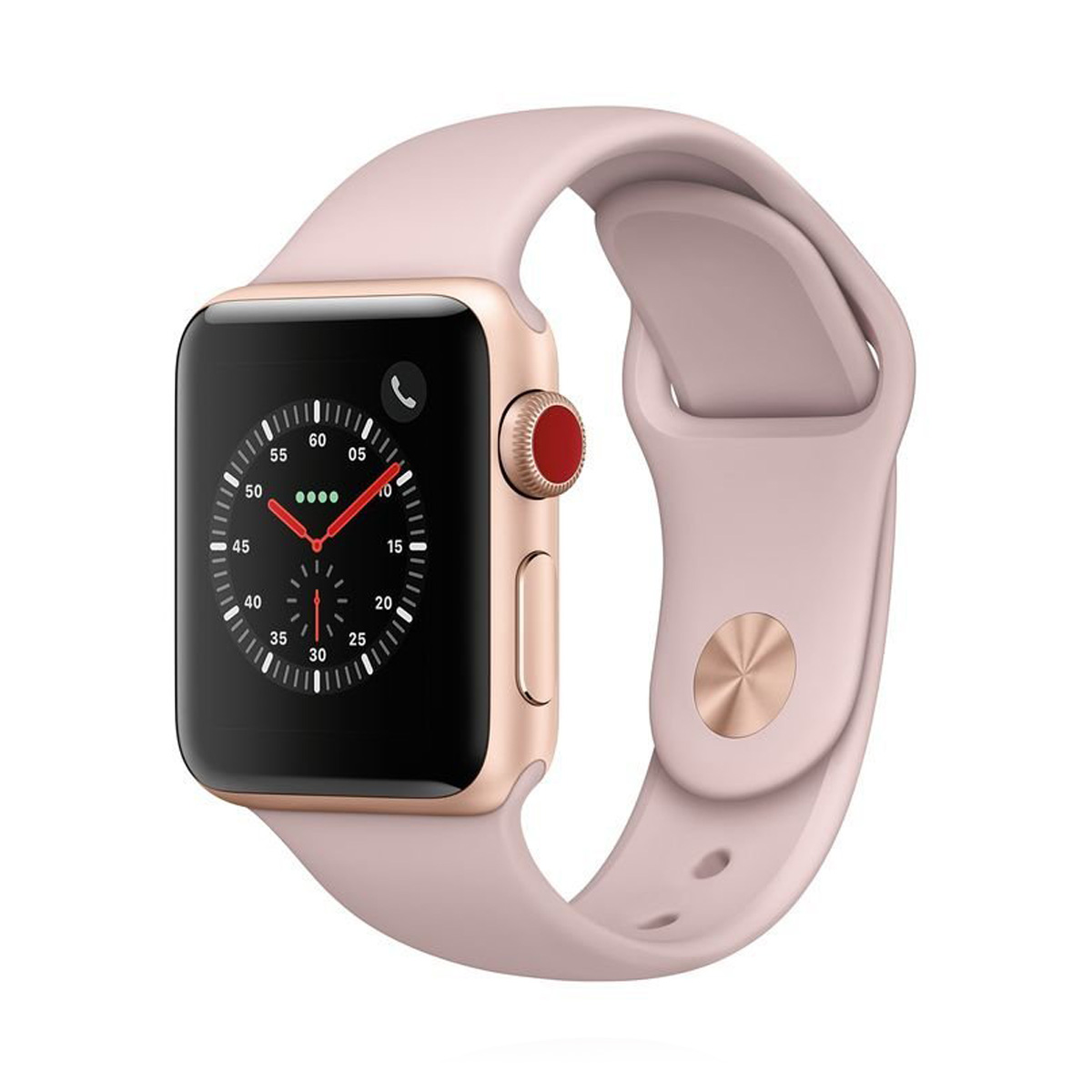 Apple WATCH Series 3 GPS 38mm goldenes Aluminiumgehäuse mit pink sandfarbenem Sportarmband