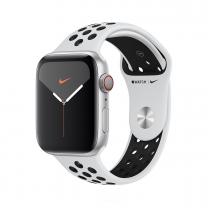 Apple WATCH Nike Series 5  44mm Cellular Aluminiumgehäuse silber Sportarmband Pure Platinum Black